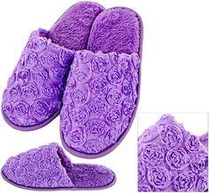 Purple Satin Rose Slippers