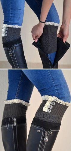 Gray & Ivory Lace Boot Cuff