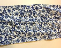 Navy Blue with White Floral Cotton Blend Trim  4 inches wide    2 yard