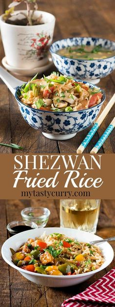 Indo chinese Schezwan fried rice is a favourite at home. It's quick, It's spicy and it's tasty and ready in 20 minutes. All you need is lots of vegetables and cooked rice for making this schezwan fried rice recipe. For me making such dishes is always Rice Recipes, Indian Food Recipes, Asian Recipes, Vegetarian Recipes, Chinese Recipes, Chinese Food, Asian Foods, Vegetarian Cooking, Brunch Recipes