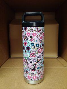 Sugar Skull Hydro Dipped Yeti Rambler Bottle - My Sugar Skulls