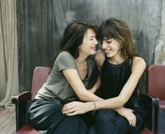 Jane Birkin with younger daughter Lou Doillon