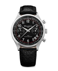 William L 1985 - Vintage Chronograph Stainless Steel case with black leather strap. 40mm case. $215