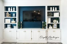 Built-In Bookcases and TV Unit - Living a Real Life Built In Tv Wall Unit, Built In Shelves Living Room, Tv Built In, Living Room Wall Units, My Living Room, Built In Tv Cabinet, Wall Units For Tv, Wall Cabinets Living Room, Tv Cupboard