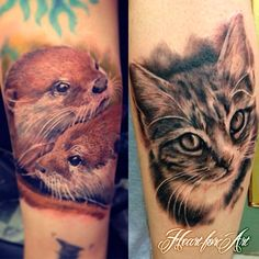 Over the weekend we had a guest Tattoo Artist in named Ravi Lassi, while he was here he had time to give our resident artists now new Ink! Here's Sam's new otters and Ash's portrait of his cat! Take a look at more of his work here www.ravi-lassi.com