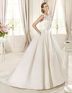 Ball Gown Round Neckline Lace Bodice Keyhole Back Satin Wedding Dress-wb0063, $284.95