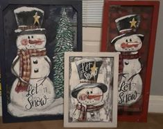 Window Screens, Home Decor Paintings, Snowman Crafts, Christmas Paintings, Snowmen, Ladder Decor, Nest, Hand Painted, Windows