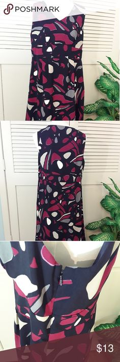 Eye catching dress Beautiful colors make this dress stand out. Nice fabric. NWOT. Navy/hot pink/white/gray. Falls around the knee. George Dresses Midi
