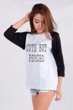 Cute But Psycho funny tshirts graphic tee women Baseball