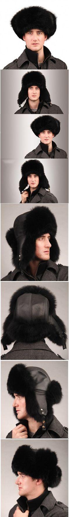 URSFUR Men's Fox Fur & Leather Trapper Hats (Black)