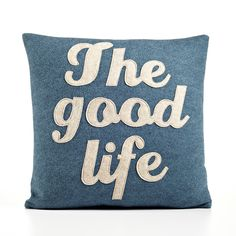 """Gonna DYI this one.  THE GOOD LIFE 22"""" x 22"""" Recycled Felt Applique Pillow Denim Oatmeal. $129.00, via Etsy."""