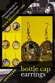 What do you do when your bottle is empty? Have a second and turn those bottle caps into beautiful collage-art Bottle Cap Earrings! Raise your bottles to these inspirational Collage-Art Bottle Cap Earrings We found a video to show you how to Bottle Cap Projects, Bottle Cap Crafts, Bottle Art, Bottle Cap Earrings, Beautiful Collage, Arts And Crafts, Diy Crafts, Recycled Jewelry, How To Make Earrings