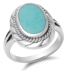 Sterling Silver Ring W/Oval Turquoise Stone .925