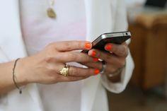 hot orange nails
