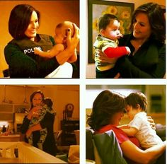 A collage of Mariska Hargitay with her foster son baby Noah how adorable