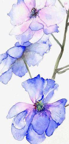 blauw aquarel bloemen door Sunandita Mukherjee
