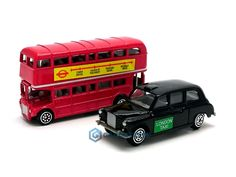 London Bus Red Double Decker Black Cab Taxi Die Cast Metal Model Small Toys Pack