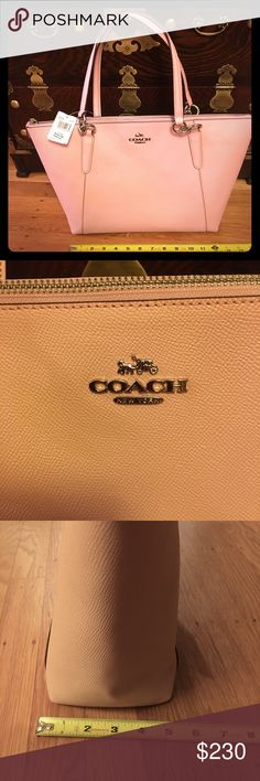 New with tag Coach bag! 👜! Totes, Soft pink. NWT NWT 100% Authentic Coach bag in soft pink. Beautiful and classy color! Good size bag with zipper. See my closet for a matching color Wristlet Wallet! Perfect for Gift! I will include the original Coach logo shopping bag with this listing.  Check out my closet for more Coach, MIchael Kors Wallet, bag, and purses!  All new with tag and authenticity guaranteed!!! Coach Bags Shoulder Bags