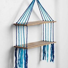 Magical Thinking Woven Hanging Shelf - urban outfitters. they have a few different macrame shelves that i really love. (Could DIY) Furniture Projects, Wood Projects, Diy Furniture, Upcycled Furniture, Weathered Furniture, Cardboard Furniture, Fun Crafts, Diy And Crafts, Crafts With Yarn