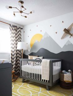 Baby Kinderzimmer Junge - airplane near sun and mountains, painted on a white wall, in boy nursery, yellow. Baby Boy Nursery Room Ideas, Baby Bedroom, Baby Boy Rooms, Baby Boy Nurseries, Baby Room Decor, Kids Bedroom, Nursery Decor, Bedding Decor, Themed Nursery