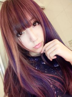 #ulzzang Purple highlights hair