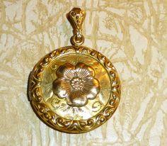 Antique Gold FIlled Locket Floral Motif by VintageGirlStuff, $65.00