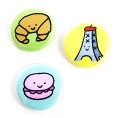 J'adore la France Button Set by sugarcookie on Etsy, $6.00