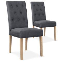 Lot de 2 chaises Costel Tissu Gris