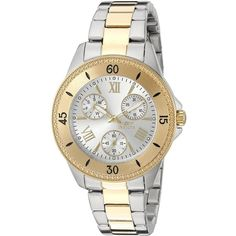 Invicta Angel Analog Display Quartz Two Tone Watch ($64) ❤ liked on Polyvore featuring jewelry, watches, water resistant watches, invicta watches, skeleton wristwatch, skeleton jewelry and quartz movement watches