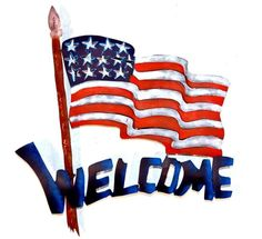 Mexican Us Flag Welcome Sign Wall Art