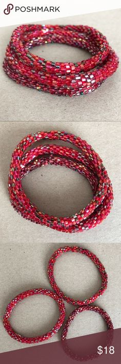Lily & Laura Roll On Bracelet Set of 3 in Reds Lily & Laura Roll On Nepal Bracelet Set of 3 Glass Beads in various Reds. These bracelets are a fair trade product made by women in Nepal to help sustain their families. They fit virtually every wrist simply by rolling on. Because of how they are crocheted they expand & retract by rolling, & will not break unless cut. As each are handmade, they may vary slightly in size. Each one is unique. They are stack-able & mix-and-matchable. Please check…