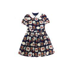Janemarple ストロベリーラベルのラウンドカラーワンピース Sumally ❤ liked on Polyvore featuring dresses, lolita, op and blue dress