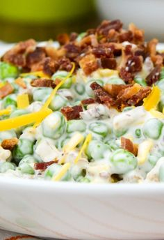 More peas, please! The little green gems lend beautiful color and texture to my creamy Pea Salad, a simple but flavorful side dish sure to lure even picky eaters to the fridge for leftovers.    I'm pretty sure what they say is true – that ranch dressing makes everything better. Mediocre pork chops and chicken …