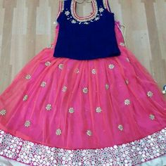 Mirror Work Pink Lehenga Source by aminathn Blouses Baby Girl Frocks, Frocks For Girls, Little Girl Dresses, Girls Dresses, Baby Dresses, Linen Dresses, Baby Lehenga, Kids Lehenga Choli, Pink Lehenga