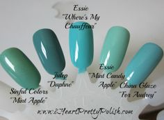Sinful Colors Mint Apple ; Julep Daphne ; Essie Where's My Chauffer ; Essie Mint Candy Apple ; China Glaze For Audrey