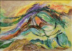 """"""" La vague -vortex """". 92 x 65 cm .acrylique sur bois .Ghü"""