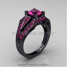 Classic Edwardian 14K Black Gold 1.0 Ct Pink Sapphire Engagement Ring R285-14KBGPS - Perspective