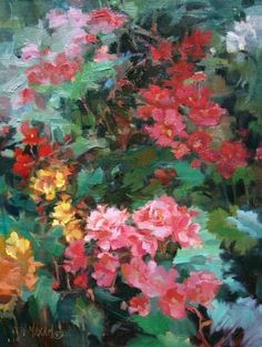 Begonia Blossoms - a floral for (nearly) February, painting by artist Mary Maxam