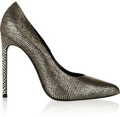 Saint Laurent Metallic snake-effect leather pumps on shopstyle.com