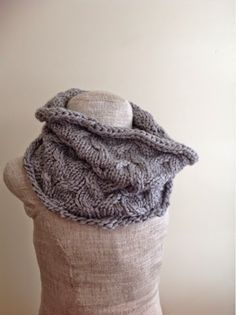 Undeniable Glitter: Grey Cabled Cowl