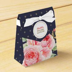 #Navy Blue Romantic Floral Bridal Shower Favor Boxe Favor Box - #WeddingFavorBoxes #Wedding #Favor #Boxes Wedding Favor Boxes #Favorbox
