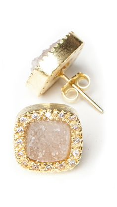 Studs - Natural Druzy by Marcia Moran  so cute