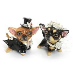 Black Tan Chihuahua Wedding Cake Topper 00001 Ceramic Figurine Crafts