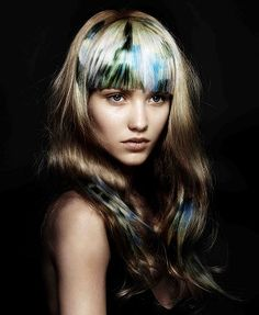 A long blonde straight coloured multi-tonal defined-fringe womens hairstyle by Angelo Seminara