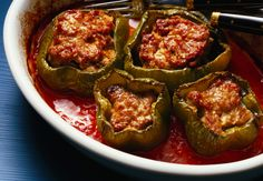 Slow Cooker Stuffed Green Peppers with Ground Beef and Rice