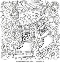 Collection Of Classic Contemporary Christmas Trees To Color See More Winter Girl On Skates Snowflakes Adult Coloring Book Page Hand Drawn