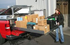"""gorilla slide Pull the Roller Coaster™ all the way out to get easy access to all your items, or pull it only part way out—it automatically locks in 10"""" increments. gorilla slide Liz Gros, our Purchasing Manager, uses the Roller Coaster™ to pick up parts for Highway Products. """"I take our truck to town several times a week and get tools repaired and supplies for the shop. Some of these items are heavy. I like it!"""""""