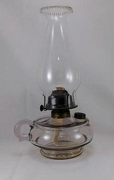 Antique Glass Finger Oil Lamp, Oil Lamp, Plume & Atwood, Fireside Burner, Hurricane Oil Lamp, Made  USA, Late 1800'S, Home  Garden lighting