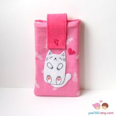 Sleeping cat smartphone pouch iphone case android phone by yael360