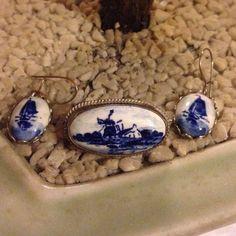 Vintage Holande  porcelain sterling set Brooch and matching earring delft sterling  Jewelry